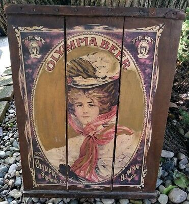 Vintage Olympia Brewing Co. 18x24 Wooden Beer Sign It's The Water 1909 Greetings