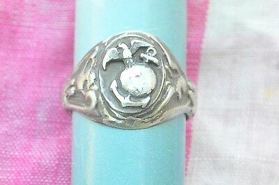 Vintage Sterling Silver US Marines Corps ring size-11.0    204