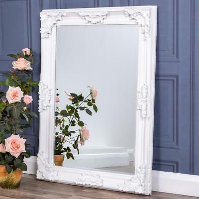 Heavily Ornate White Wall Mirror French Chic Bedroom Hallway Home 108cm x 78cm