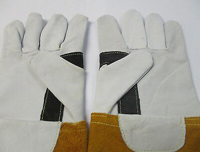 1 x Pair  Finger Tip Sensitivity Gold Tig Welding Gauntlets / Gloves