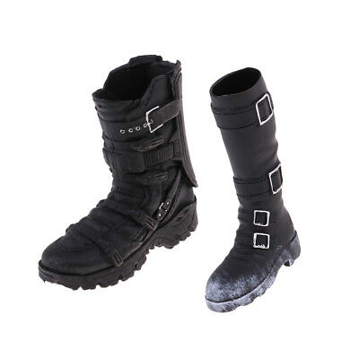 1/6 Scale Male Mid-calf Knee Boot Black for 12'' Action Kumik Hot Toys Doll