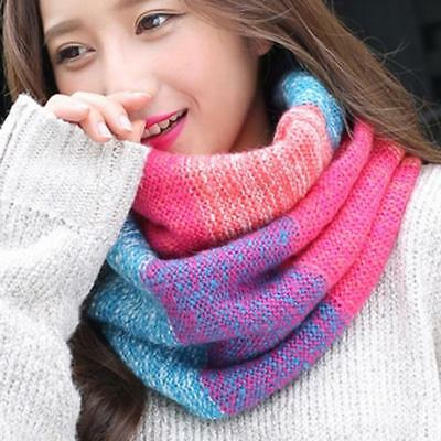 Ladies Fashion Striped Knitted Snood Neck Circle Warm Winter Infinity Shawl one