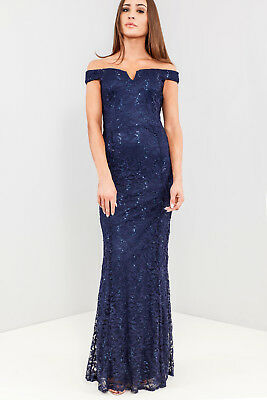 QUIZ Lace Sequin Bardot Fishtail Maxi Evening Party Dress in Navy