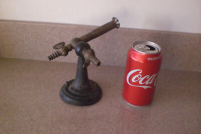 Vintage Cast Iron Base Bunsen Burner Brass Valves Lab Equipment Steampunk Old