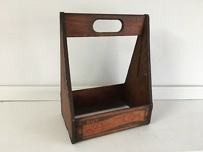 Vintage Pepsi Cola Advertising Wood 6 Bottle Carrier Box Excellent Condition