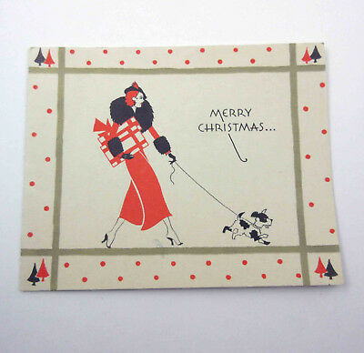 Vintage Art Deco Christmas Greeting Card With Fancy Lady Walking Dog