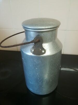 Vintage milk churn with handle & lid. Aluminium ideal for farm / kitchen