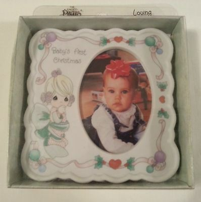 Precious Moments Baby's First Christmas Porcelain Picture Frame Enesco New