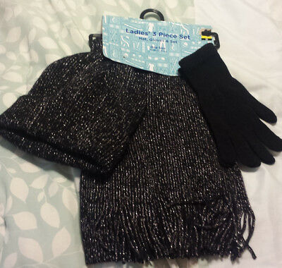 Ladies 3pc Winter Soft Knit Beanie Hat Long Scarf Gloves Set One Size