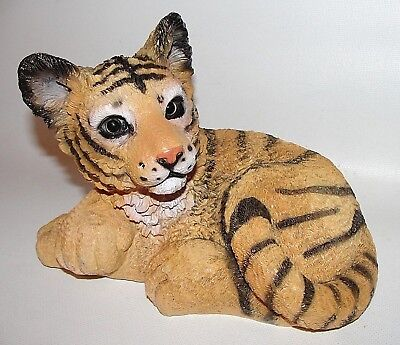 *CUTE EYES*  Tiger Resting Gracefully Statue ~ Musical