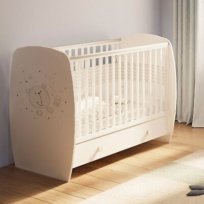 Baby Cot with Drawer, Teddy Print, White/Grey