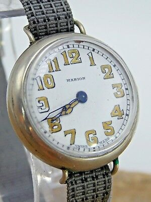 Vintage Antique Swiss Made Marion WWI era trench watch with radium dial 4U2Fix