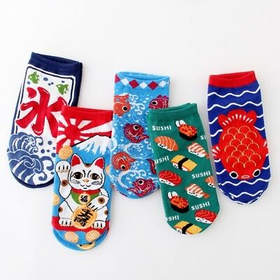 5 Pairs Women Girls Cotton Socks Cartoon Lucky Cat Japanese Kawaii Ankle Socks