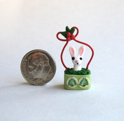 Handmade Miniature CHRISTMAS WHITE BUNNY IN BASKET - OOAK C. Rohal