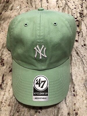 033389753 Lime Green Mini Logo New York Yankees 47 Brand Clean Up Cap Free Shipping