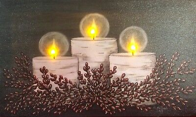 Candle LED Light Up Lighted Canvas Painting Picture Wall Art Home Decor