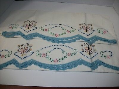 Vintage Embroidered Crocheted Set Of Pillowcases, Lovely, Butterflies