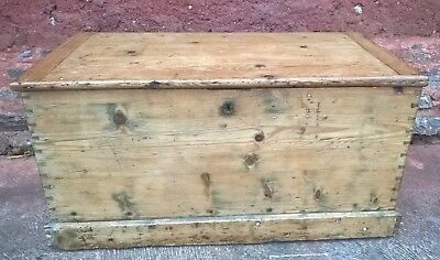 Gorgeous Antique Pine Chest / Old Rustic Pine Trunk ( Free Delivery )