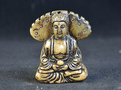 Vintage Old Nephrite Jade Hand Sculpture Buddha Statue Pendant Asien Collection