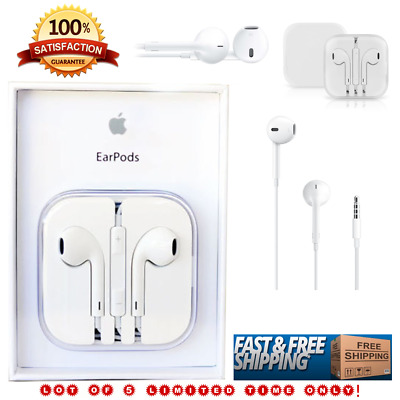Lot of 5 Genuine OEM New Original Apple EarPods, Earphones for iPhone