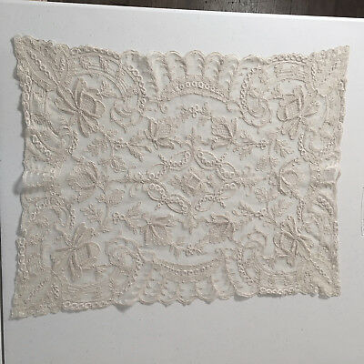 Antique Hand Made Tambour Net Lace Cream Doily 14x18 Embroidery Flowers Swag