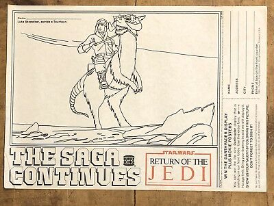 RARE Vintage 1983 STAR WARS Return Of The Jedi BURGER KING Contest Form Sheet