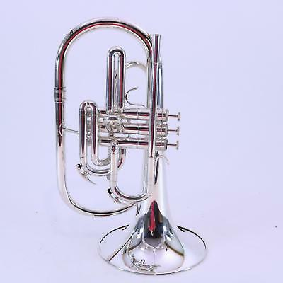 Nirschl E102SP Mellophone in Silver Plate SN E000676 GORGEOUS DISPLAY MODEL