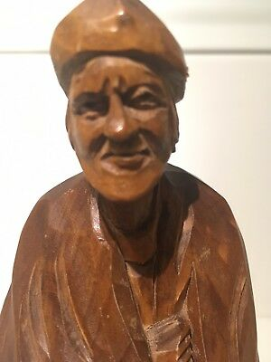 """Vintage WOOD CARVED FOLK ART by PAUL CARON Quebec Canadiana STATUE 7"""" TALL"""
