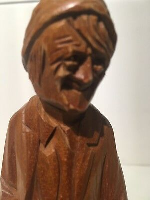 Vintage WOOD CARVED FOLK ART by PAUL CARON Quebec Canadiana STATUE 5'' TALL