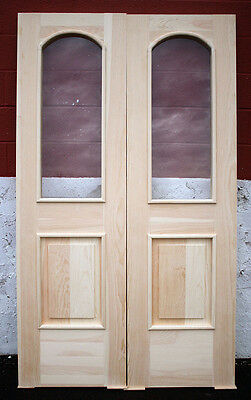 "48""x84""x1.75"" Pair New SOLID Wood Wooden Entry Exterior Door Glass Arched Window"