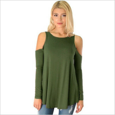 Women's Cold Shoulder Long Sleeve Pullover Tops Blouse Summer Shirt T-Shirt US