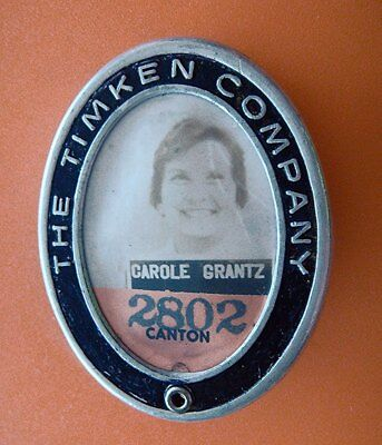 Antique Photo ID Employee Badge: THE TIMKEN COMPANY; Automotive Bearings