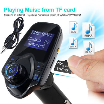 T11 Bluetooth FM Transmitter MP3 Player USB KFZ Auto SD AUX Freisprechanlage