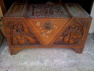 CHINESE CAMPHOR WOOD CARVED TRUNK / CHEST with I Think? Mother of Pearl Figures