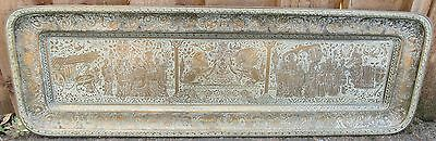 Antique English South East Asian Engraved Brass Tray  Made For Chinese Market