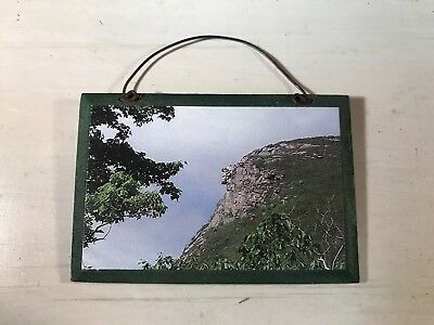 Vintage New Hampshire Old Man in The Mountain Mini Photo on Wood Plaque