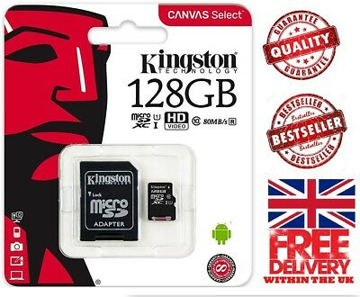 Kingston 128GB  Micro SD Memory Card 80MB/s UHS-1 Class 10 + ADAPTER
