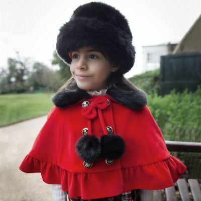 e2e89c4a768 Couche Tot Girl s Red Cape   black faux fur hat Christmas Romany Spanish