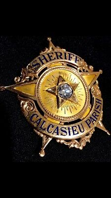 Rare Solid 14K Gold Presentation Badge-Sheriff Calcasieu County-Louisiana