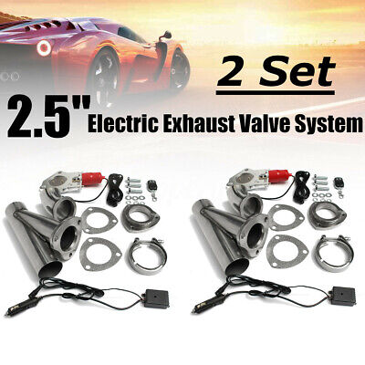 2x 2.5'' Electric Exhaust Valve Downpipe Kit System Remote Intelligent E-cut Out