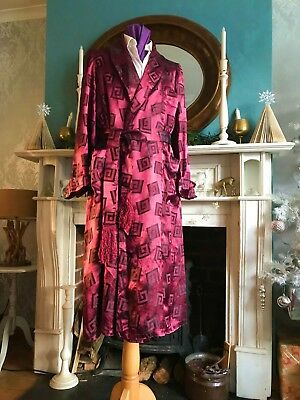 1930/40's-50's Vintage Dressing Gown/smoking Jacket Size M Lovely RAYON SILK  38