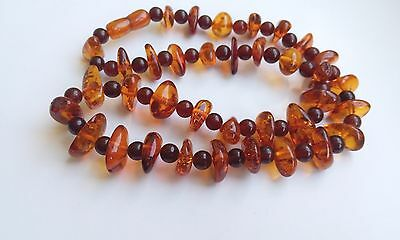 Antique Egg Yolk Genue Butterscotch Natural Baltic Amber Stone Necklace 51 g n/r
