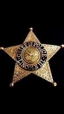 Rare SOLID 14K GOLD Presentation Badge-Chief of Police Lincoln, Illinois