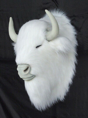 White Buffalo Bison Head Statue Wall Mount - LIFE SIZE - Movie Prop - Realistic!