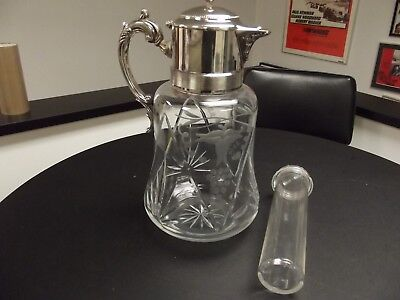 ANTIQUE SILVER PLATED CUT GLASS PITCHER German w/cooler tube Large