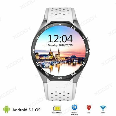 WHITE 3G Smart Wrist Watch Android 5.1 Quad Core 4GB GPS WIFI For iPhone Samsung