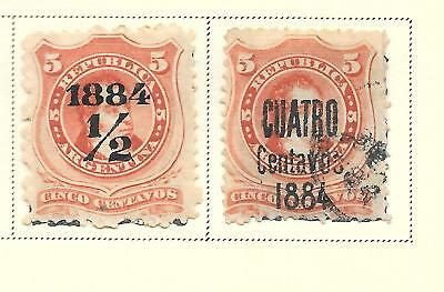 Argentina Scott 49, 51, in mixed condition