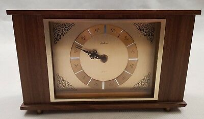 Vintage Bentima Wood & Brass Quartz Mantel Clock 1960s