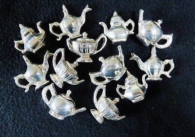 Lot of 12 Place Card Holders. 4 Different Teapot  Designs. Silver Plate.