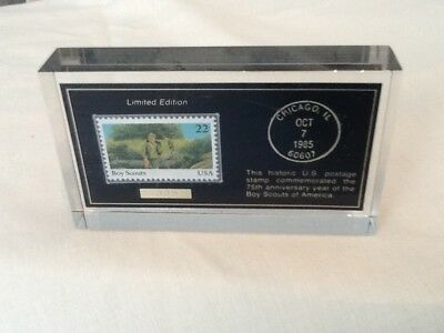 Paperweight/US Stamp for Boy Scout's 75th Anniversary Limited Edition